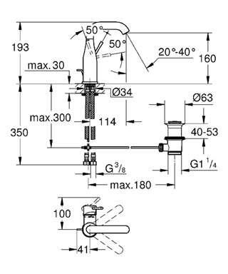 Wymiary techniczne baterii umywalkowej Grohe Essence New 23462001-image_Grohe_23462001_4