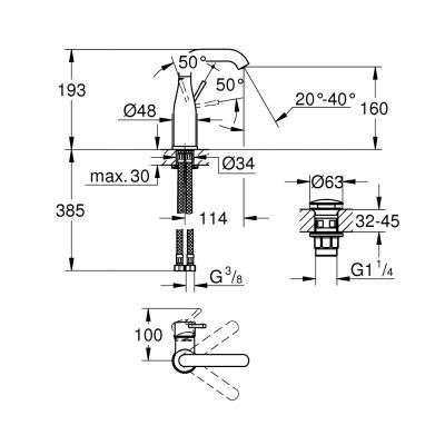 Wymiary techniczne baterii umywalkowej Grohe Essence 23789001-image_Grohe_23789001_3