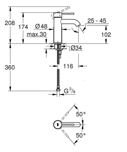 Wymiary techniczne baterii umywalkowej Grohe Essence 23590AL1-image_Grohe_23590AL1_2
