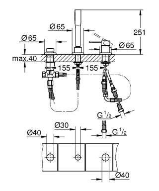 Wymiary techniczne 3-otworowej baterii wannowej 19976001-image_Grohe_19976001_4