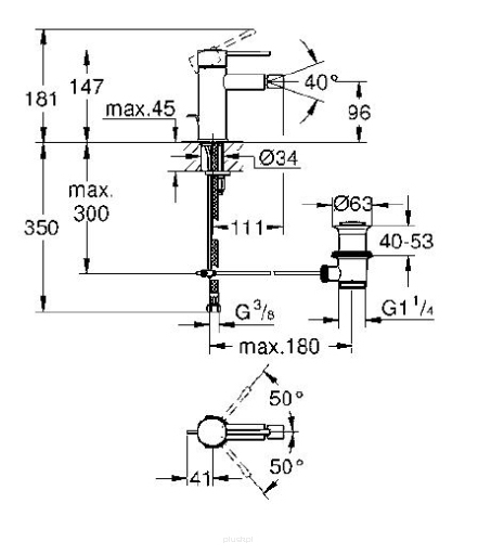 Rysunek techniczny baterii bidetowej Grohe Essence 32935AL1-image_Grohe_32935AL1_3