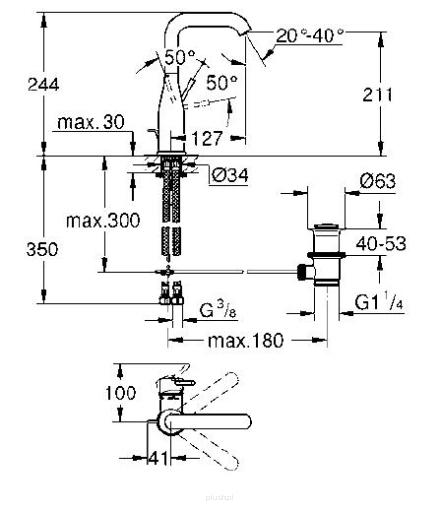 Rysunek techniczny baterii umywalkowej Grohe Essence 32628AL1-image_Grohe_32628AL1_3
