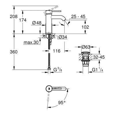 Rysunek techniczny baterii umywalkowej Essence 23797001-image_Grohe_23797001_2