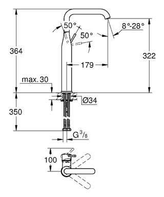 Wymiary techniczne wysokiej baterii do umywalki Grohe Essence 32901DC1-image_Grohe_32901DC1_2