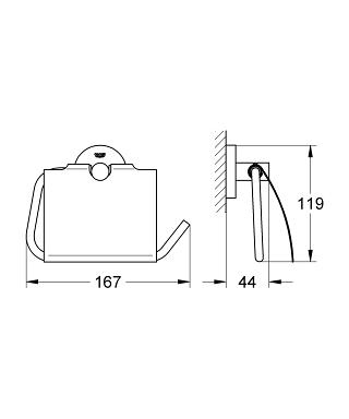 Rysunek techniczny uchwytu na papier Grohe Essentials 40367A01 -image_Grohe__1