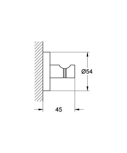 Wymiary technicze haczyka Grohe Essentials 40364001 -image_Grohe_40364001_5