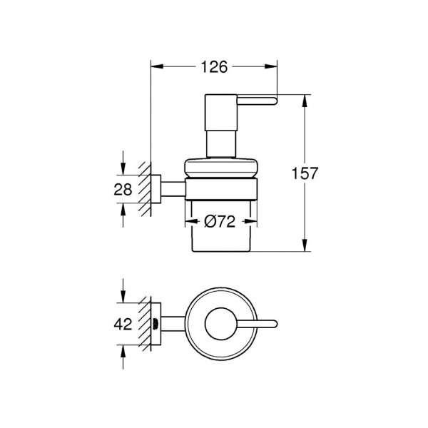 Wymiary techniczne dozownika na mydło z uchwytem Grohe Essentials Cube 40756001-image_Grohe_40756001_3