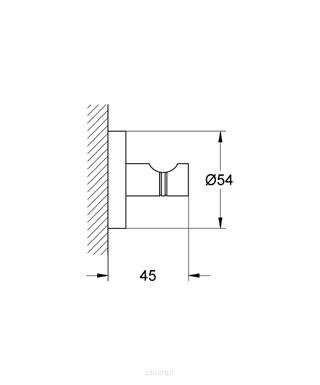 Rysunek techniczny haczyka Essentials 40364GL1 -image_Grohe_40364GL1_2