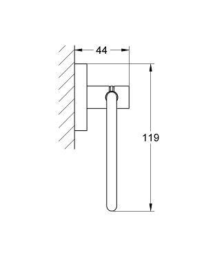Rysunek techniczny uchwytu na papier Grohe Essentials 40689DA1 -image_Grohe_40689DA1_2