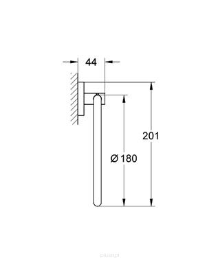 Rysunek techniczny wieszaka Grohe Essentials 40365GL1 -image_Grohe_40365GL1_2