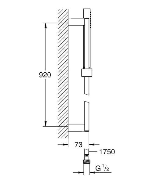 Wymiary techniczne zestawu natryskowego na drążku Grohe Euphoria Cube 27700000-image_Grohe_27700000_4