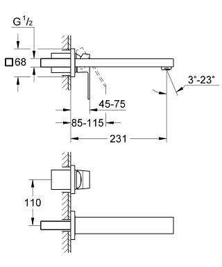 Rysunek techniczny baterii umywalkowej Grohe Eurocube 23447 000-image_Grohe_23447000_4