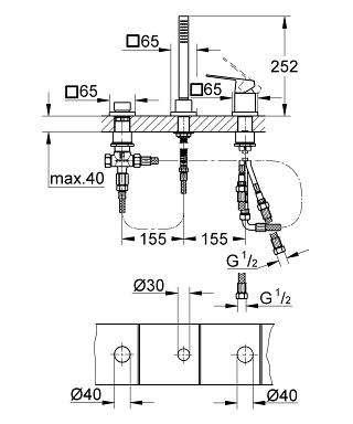 Rysunek techniczny baterii wannowej Grohe Eurocube 19966000 do napełniania wanny przez przelew.-image_Grohe_19966000_4