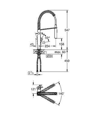 Wymiary techniczne baterii kuchennej Grohe Eurocube 31395000-image_Grohe_31395000_4