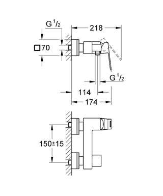Wymiary techniczne baterii prysznicowej Grohe Eurocube 23145000-image_Grohe_23145000_4