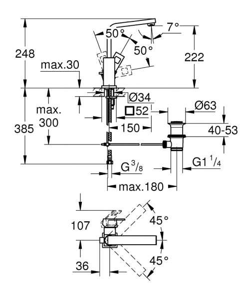 Wymiary techniczne baterii umywalkowej Grohe Eurocube 2313500E-image_Grohe_2313500E_5