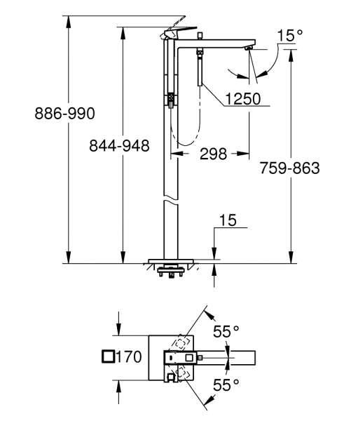 Wymiary techniczne kolumny wolnostojącej Grohe Eurocube 23672001-image_Grohe_23672000_4