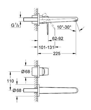 Rysunek techniczny baterii umywalkowej Grohe Eurodisc 19974002-image_Grohe_19974002_4