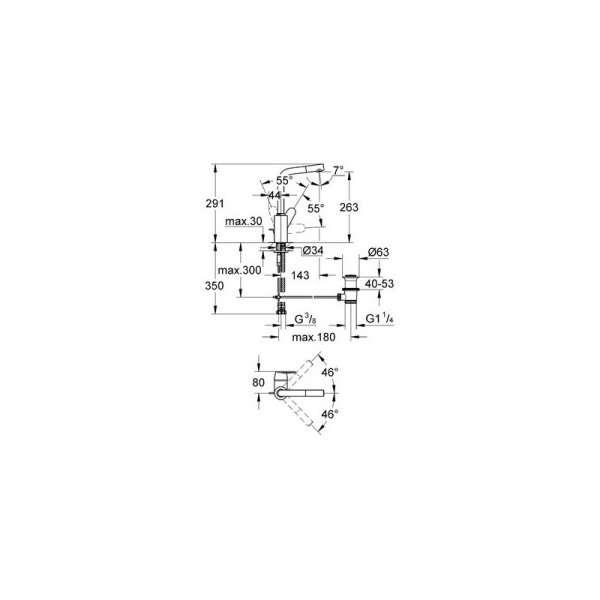 Wymiary techniczne baterii umywalkowej Grohe Eurodisc Cosmopolitan 23054002-image_Grohe_23054002_3