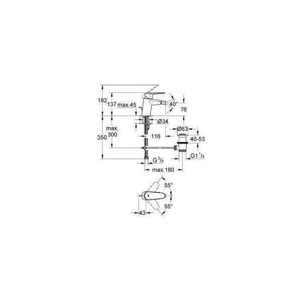 Wymiary techniczne baterii bidetowej Grohe Eurodisc Cosmopolitan 33244002-image_Grohe_33244002_3