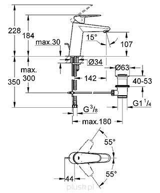 Rysunek techniczny baterii umywalkowej Grohe Eurodisc 23448002-image_Grohe_23448002_3
