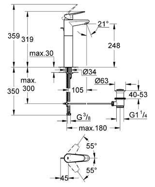 Wymiary techniczne baterii umywalkowej Grohe Eurodisc Cosmopolitan 23055002-image_Grohe_23055002_3