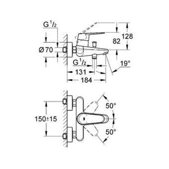 Wymiary techniczne baterii umywalkowej Grohe Eurodisc Cosmopolitan 33390002-image_Grohe_33390002_3