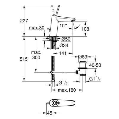 Rysunek techniczny baterii umywalkowej Eurodisc Joy 23427LS0-image_Grohe_23427LS0_3