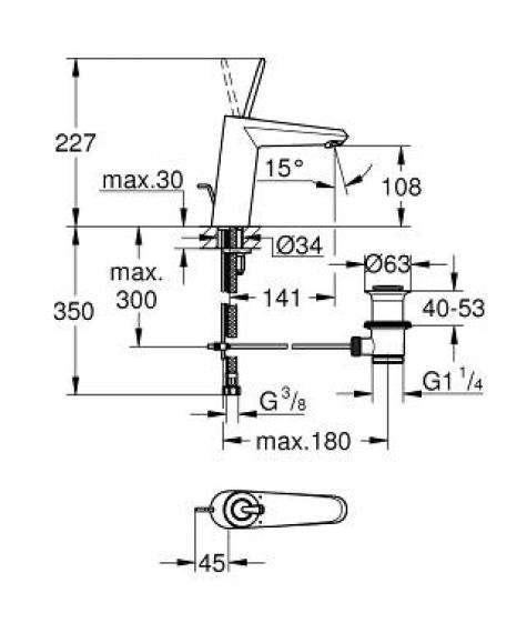 Wymiary techniczne baterii umywalkowej Grohe Eurodisc Joy 23427000-image_Grohe_23427000_3