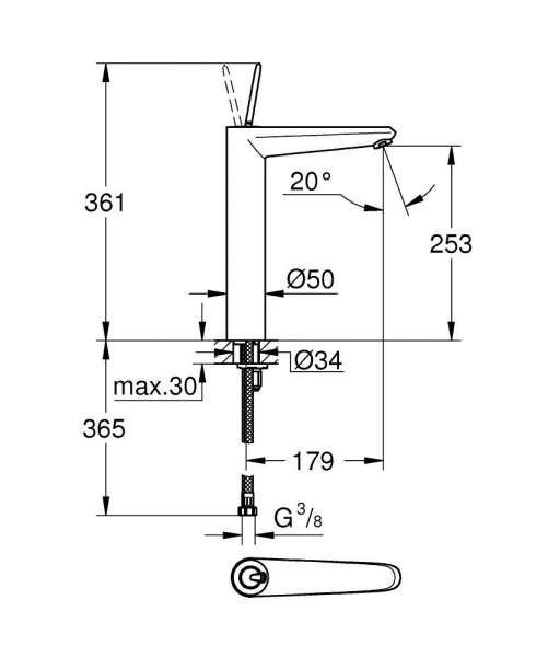 Wymiary techniczne baterii umywalkowej Grohe Eurodisc Joy 23 428 LS0-image_Grohe_23428LS0_4