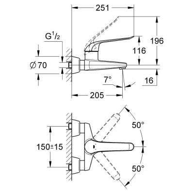 Rysunek techniczny baterii umywalkowej Grohe Euroeco Special 32778000-image_Grohe_32778000_4