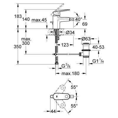 Rysunek techniczny baterii do bidetu Europlus 33 241 002-image_Grohe_33241002_3