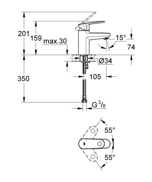 Wymiary baterii umywalkowej Grohe Europlus 33163002-image_Grohe_33163002_4