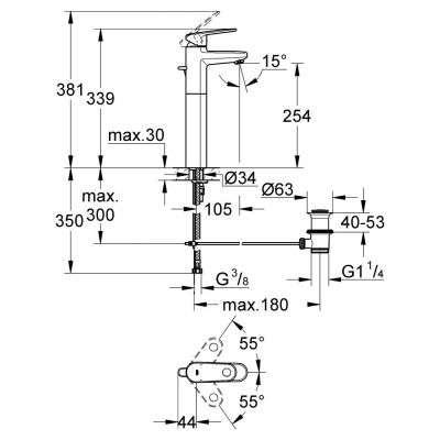 Rysunek techniczny baterii wysokiej Europlus 32618 002-image_Grohe_32618002_3