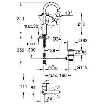 Wymiary techniczne baterii umyalkowej Grohe Eurosmart New 23537002-image_Grohe_23537002_3