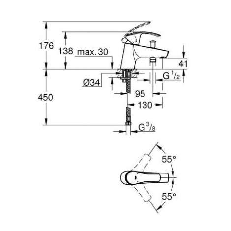 wymiary techniczne baterii wannowej Grohe Eurosmart 33412002-image_Grohe_33412002_3