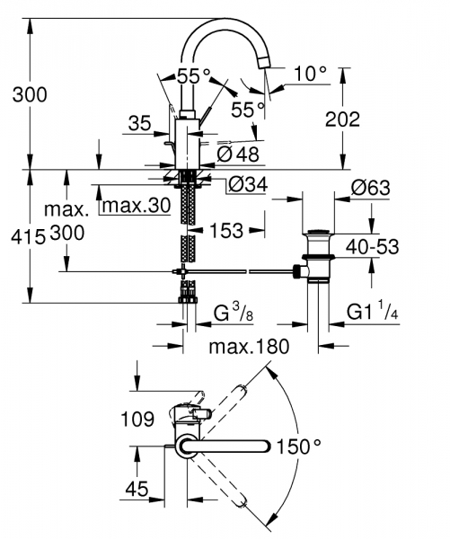 Dane techniczne kranu do umywalki Grohe Eurosmart Cosmopolitan 32830001-image_Grohe_32830001_1