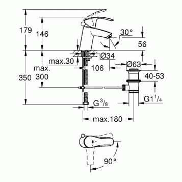 Wymiary techniczne baterii umywalkowej Grohe Eurosmart 32926002-image_Grohe_32926002_3