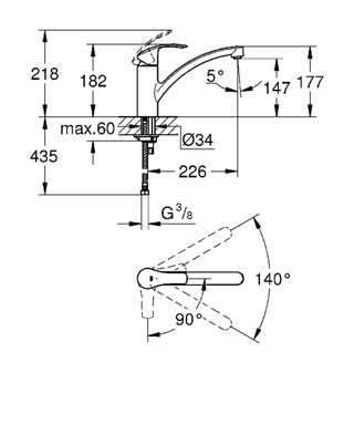 Wymiary techniczne Grohe Eurosmart 30260002 z obrotową wylewką.-image_Grohe_30260002_3