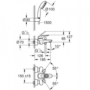 Rysunek techniczny baterii wannowej Grohe Eurostyle 3359230A-image_Grohe_3359230A_2