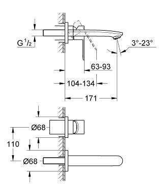 Wymiary podtynkowej baterii umywalkowej Grohe Eurostyle Cosmopolitan 19571002-image_Grohe_19571002_3