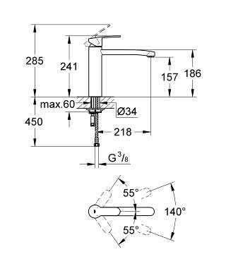 Wymiary techniczne baterii kuchennej Grohe Eurostyle Cosmopolitan 31124002-image_Grohe_31124002_3