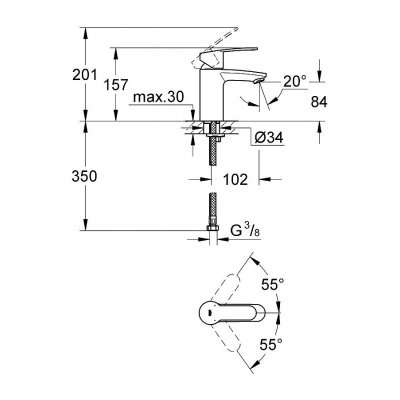 Wymiary techniczne baterii umywalkowej Grohe Eurostyle Cosmopolitan 3246820e-image_Grohe_3246820E_4