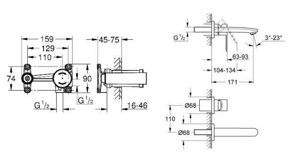 Wymiary techniczne elementu podtynkowego Grohe 23571000+ elementów zewnętrznych Eurostyle Cosmopolitan 19571002-image_Grohe_19571002K_3