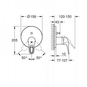 Rysunek techniczny baterii wannowej Grohe Eurostyle 24049003-image_Grohe_24049003_2