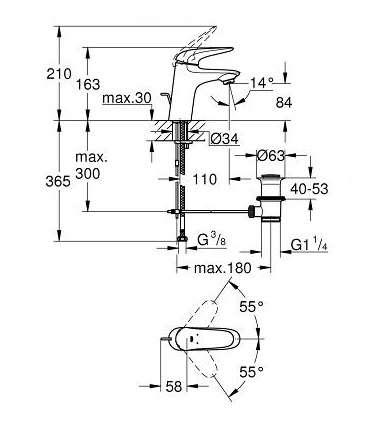 Rysunek techniczny baterii umywalkowej Grohe Eurostyle 23707003-image_Grohe_23707003_3