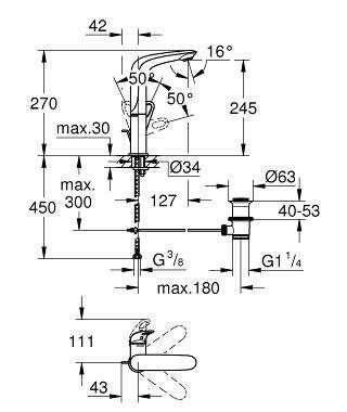 Rysunek techniczny baterii umywalkowej Grohe Eurostyle 23569LS3-image_Grohe_23569LS3_3