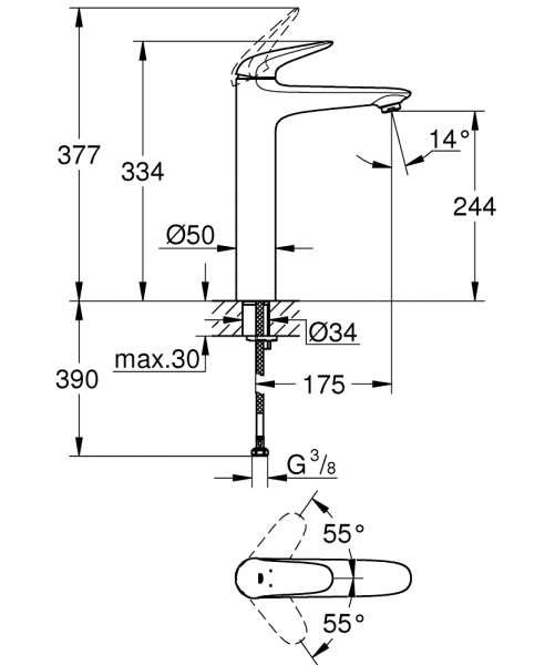 Wymiary techniczne baterii do umywalki Grohe Eurostyle 23 719 003-image_Grohe_23719003_4
