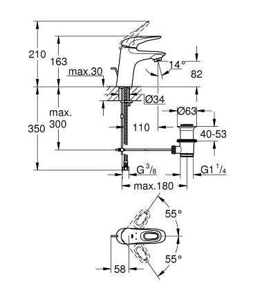 Rysunek techniczny baterii umywalkowej Grohe Eurostyle 33558LS3 -image_Grohe_33558LS3_3