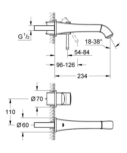 Wymiary techniczne podtynkowej baterii umywalkowej Grohe Grandera 19930000-image_Grohe_19930000_4